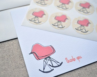 Midcentury Modern Eames Rocker Thank You Cards Set with Stickers