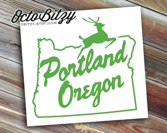 Portland Oregon, White Stag Sign, Landmark Decal Sticker
