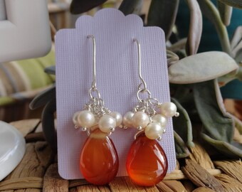 Agate, Pearl and Silver Chandelier Earrings