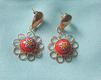 Murano Glass Flower Earrings Italy, 70 's
