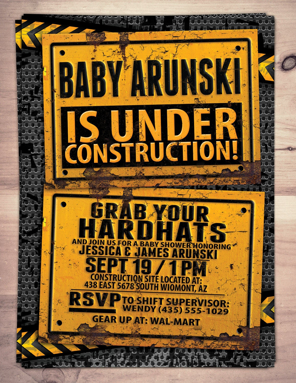 Under Construction Baby Shower invitation, Construction Invitation ...