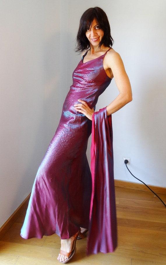 dress dress dress size gown prom Vintage 90s Evening couture 90s gown designer ball burgundy Medium maxi Augustus gown long bodreaux qUx8wPX