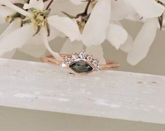 Marquise Alexandrite Nesting Ring in 14k Rose Gold.  Alexandrite Wedding Ring.  June Birthstone