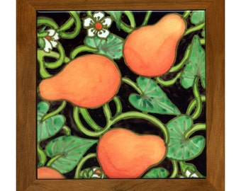 Yellow Pears ceramic trivet