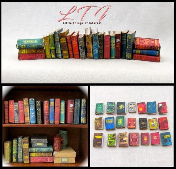 1:24 Scale 21 DUSTY OLD BOOKS Miniature Books Prop Faux Books Fill a Bookshelf Library