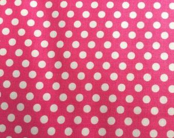 Pink Dot Fabric - Michael Miller Princess Kiss Dot Fabric - Pink and White Polka Dot Material