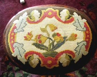 Vintage, Antique Needlepoint Footstool