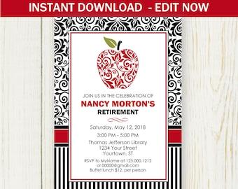 Retirement Invitation, Instant download EDIT NOW Invitation, Dasmask apple teacher retirement