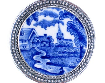 Broken China Jewelry Enoch Woods English Scenery Sterling Silver Pin Brooch