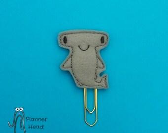 Shark paper clip, hammerhead shark planner clip, shark bookmark, sharks, hammerhead, shark feltie, sea theme planner paper clips