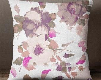 Floral Print Cushion Cover, MultiColour Square Pillow Case, Satin Cushion Cover For Living Room, Canvas Standard Cushion Cover, ISUB-SAS279A