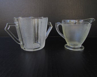 Vintage Clear Pressed Glass Cream and Sugar Set - Depression Glass - Art Deco Style - Pressed Glass Creamer - Pressed Glass Sugar Bowl -
