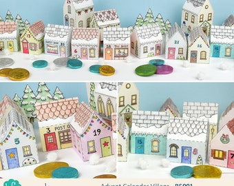 Printable Advent Calendar Village, mini house boxes to print, colour in and make up yourself - Digital Instant Download B5001