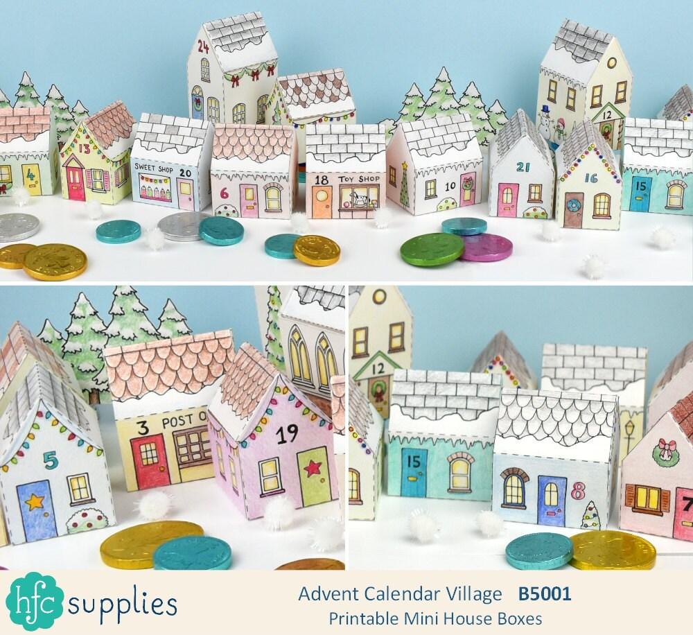 Printable advent calendar village mini house boxes to print zoom solutioingenieria Choice Image