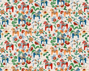 Fabric beige red yellow blue Swedish Dala Horses Modern Scandinavian Design Cotton Fabric Scandinavian Design Scandinavian Textile