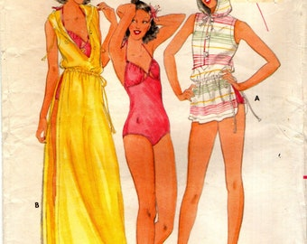 Butterick 6097 JOHN KLOSS 1970s Peek-a-Boo Swimsuit and Cover-Up