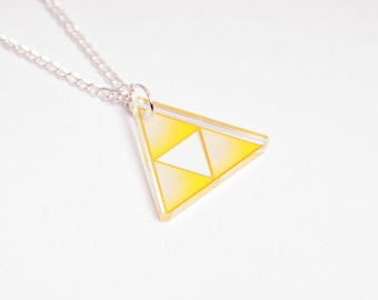 The Legend of Zelda Triforce necklace - Nintendo, geek, kawaii, japan, cute, Link, Ganondorf, courage, power, wisdom, lasercut, acrylic