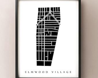Elmwood Village Map - Buffalo Neighborhood Art Print