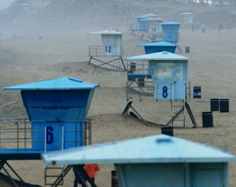 Beach Photography - Lifeguard Towers in the Fog - California Beach Photo 8X10
