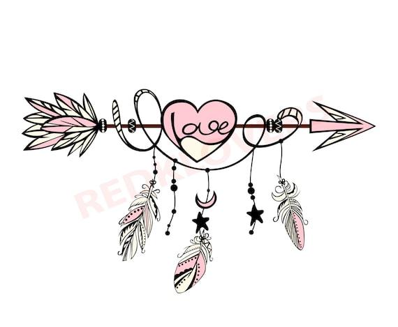 Svg Dxf Silhouette Feather Arrow Dreamcatcher Boho Native