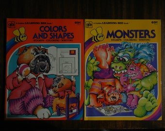 Golden Learning Bee Duo ~ Monsters and Colors and Shapes ~1977 ~ New