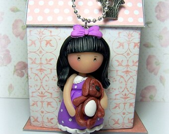 "Pendant necklace ""Lise and Oscar"", clay (Fimo, Sculpey...)"