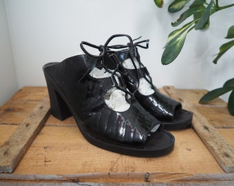 vintage 90's patent black leather peek-a-boo heels