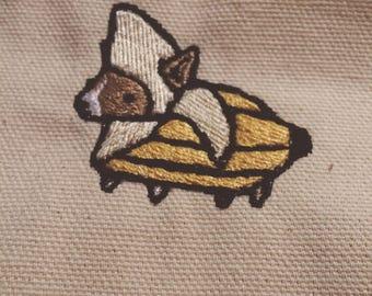 Corgi in a banana costume iron on patch!