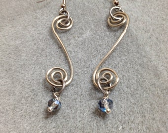 Hand formed, hammered silver plate wire swirl earrings