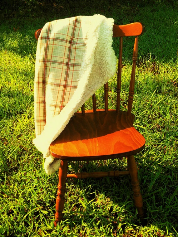 READY TO SHIP Orange and Cream Plaid Autumn Inspired flannel and fur double sided Throw Blanket