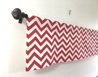 SALE Lowest Price Kitchen Curtain Kitchen Decor Window valance red chevron valance red and white valance cotton 54x14, 54x17, 54x20, 54x22