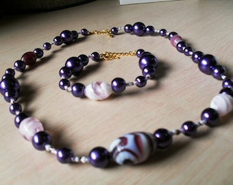 set (necklace and bracelet) colorful, chic, classy (violet)