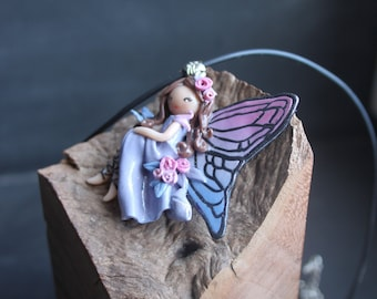 fairy Butterfly pink and blue polymer clay necklace