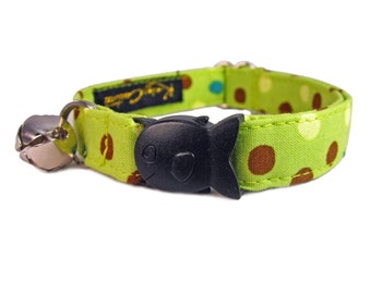Breakaway Cat Collar - Green Cat Collar - Cute Cat Collar - Polka Dot Cat Collar - Cat Collar Breakaway - Cat Collar with Bell - Cat Collar