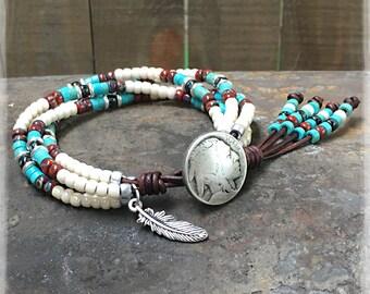 Boho Native American Beaded Wrap Bracelet/ Seed Bead Wrap Bracelet/ Southwestern Jewelry/ Boho Wrap Bracelet/ Gift For Her/Bracelets For Men
