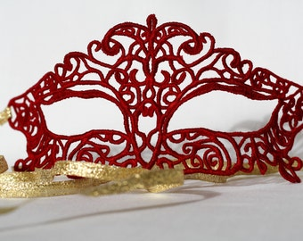 lace mask, red  masquerade mask fit for prom nights, ball parties