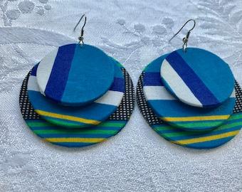 African fabric hoop earrings