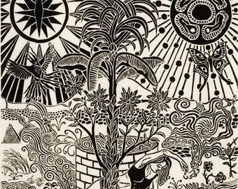 "Unique original linocut print on mulberry paper, mythogical theme, edition 35, #3, 12"" x 12"" : ""Original Garden"