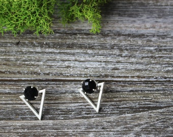 Black Onyx Earrings in sterling silver 92.5