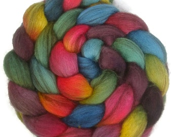 Handpainted Heathered BFL Wool Roving - 4 oz. ARCADE - Spinning Fiber