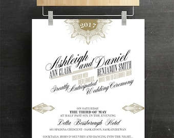 Gatsby Wedding Invitation, Bridal Invitation, Batcherette, Printable, DIY