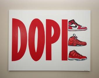 Sneaker Painting (40x30), Dope Jordans, Sneaker Art, Air Jordans, Jordan Art, Red Art