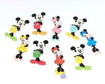 8 boutons, Minnie Mickey, en bois peint, 3,8 cm, 2 trous
