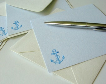 ANCHORS AWAY STATIONERY - 5 hand stamped embossed flat nautical cards with envelopes