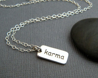 silver karma necklace. tiny sterling inspirational jewelry. inspiring quote motto affirmation. small simple word pendant. yogi yoga charm