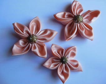 Salmon color and Pearl satin flowers