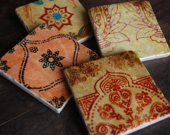 Coasters - Jewel of India coaster set - immediate shipping