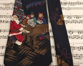 Vintage Christmas Necktie, Holiday Tie, Santa Tie, Piano Necktie, Men's Christmas Necktie, Piano Teacher Tie