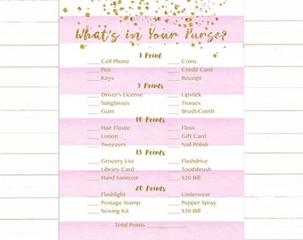 Pink and Gold What's in Your Purse Game, Whats in Your Purse Baby Shower Game, Pink Stripes Instant Download PDF Printable