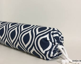 NAVY BOLSTER COVER. Neckroll/Bolster pillow cover.  Navy & white Neckroll pillow.  home decor throw pillow